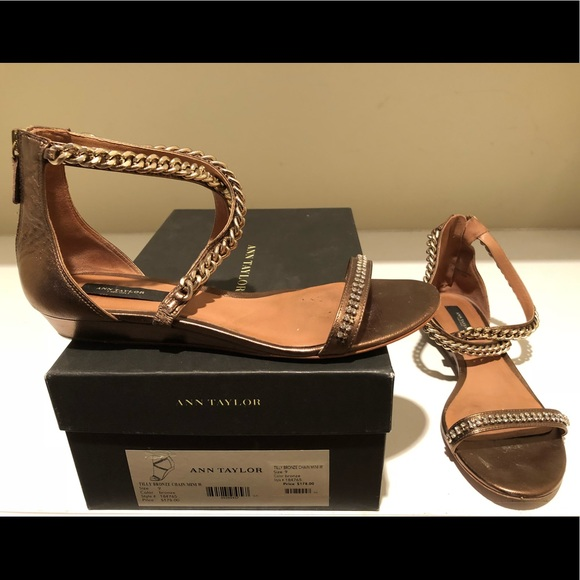 4c105e9c0bdf Ann Taylor Shoes - Ann Taylor Bronze Leather Criss-Cross Sandals